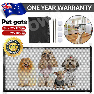 Dog Gate Barrier Mesh Safe Pet Safety Enclosure Anywhere Magic Guard Install