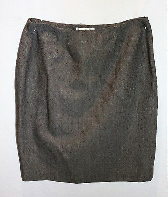 EMPORIO ARMANI Brand Brown Tweed Wool Fitted Skirt Size XS #AN02