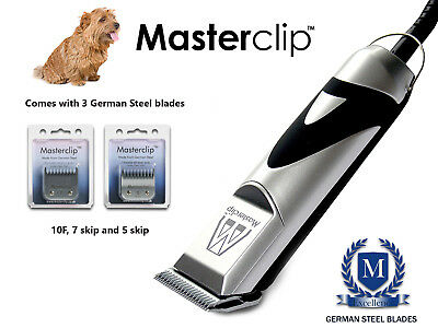 Norfolk Terrier Dog Clippers Trimmer Set with 3 German Steel Masterclip Blades