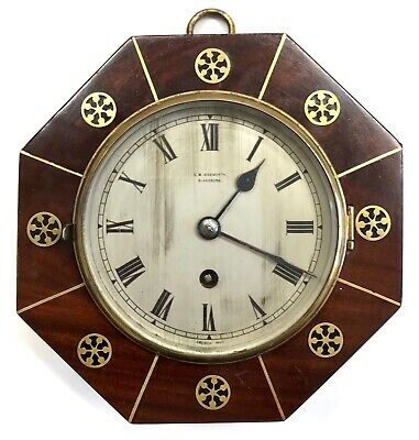 Antique Octagonal Mahogany Wall Clock With Brass Inlay G W Ainsworth Blackburn