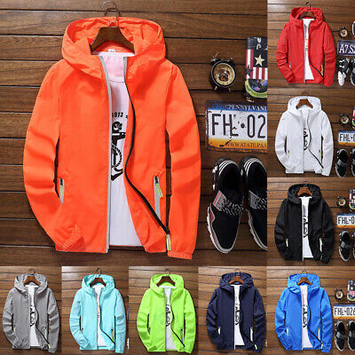 Men's Waterproof Windbreaker Zipper Jacket Hoodie Light Sports Outwear Coat P0UK