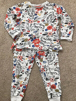 Girls Tracksuit Joggers Jumper Flower Pattern Tu Age 3-4
