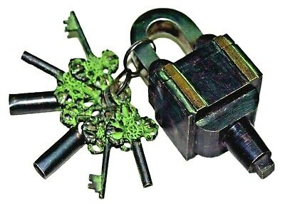 Puzzle Lock Antique Finish Handmade Brass Square Trick Padlock & 6 Keys(3 x 2)