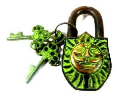 Sun Shape Antique Vintage Style Handmade Solid Brass Padlock With Working Keys