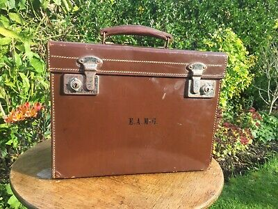 Vintage Brown Leather Top Hat Carry Case - Top Hat Not Included