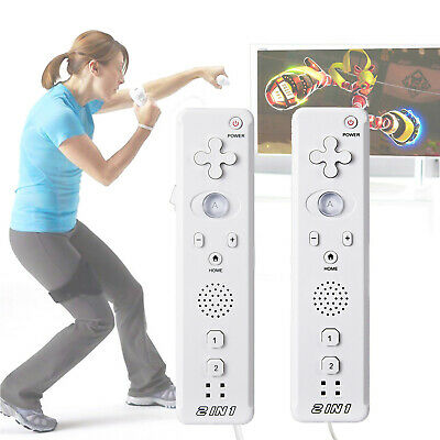 2 x 2in1 Built in Motion Plus Remote Nunchuck Controller + Case for Nintendo Wii