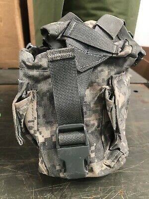 US Army Military Surplus MOLLE II 1 Quart Canteen ACU GP Utility Pouch Bag G-VG