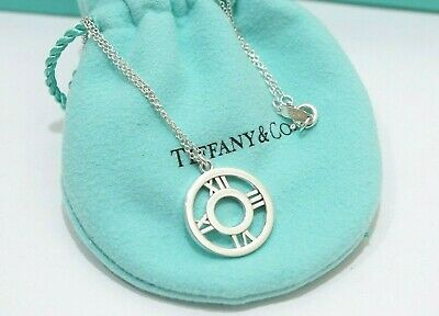 Tiffany & Co. Sterling Silver Atlas Round Pendant Necklace 16""