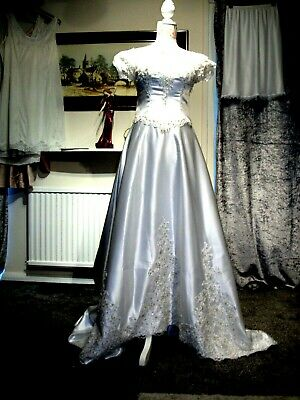 White Satin Corset Back With Train Wedding Formal Dress Size 12-14 Unbranded