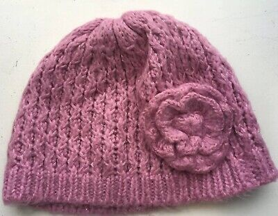 Knitted beanie hat pink for girls 7-10 years approx by TU (Sainsbury's)