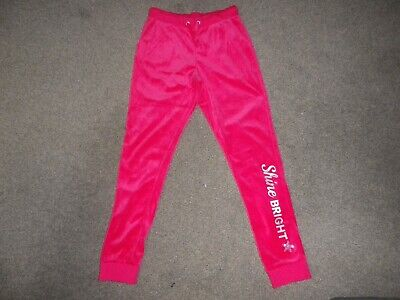 BNWT Girls Pink velour trousers joggers  age 11-12 years