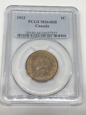 1912 Canada 🇨🇦 Canadian PCGS MS64 RB Large 1 One Cent 1C Coin - RARE!