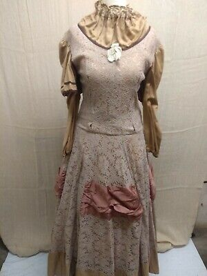 Brown Lace High Neck Victorian Style Dress