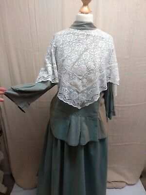 Green Lacy Victorian Edwardian Outfit With Gloves