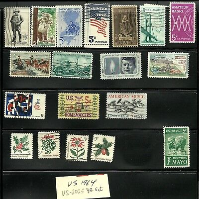 Us 1964 Stamps, 19 Commemorative Stamps, Year Set,  Lot Us 1025