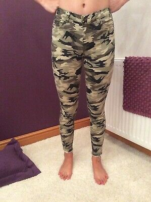 Ladies Girls Camouflage Skinny Jeans Trousers, UK Size 6-8, Age 14-15 Years.