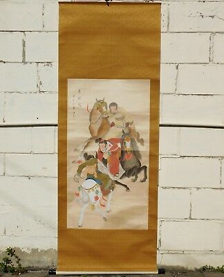 """Original Chinese watercolor-on-silk painting scroll """"Horseback Ball Game"""" (马球图)"""