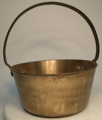 Vintage Brass Metal Pot Bucket Kettle Country with Fixed Iron Handle