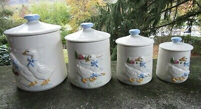 4 x Vintage Ceramic Canister Set- Two Different Geese Scenes- Tallest  ~ 8.5""