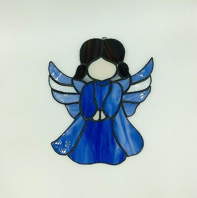 Stained Glass Blue Angel Suncatcher Holiday Decor