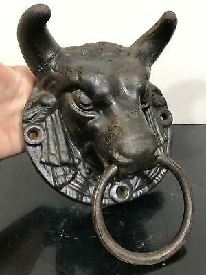 Vtg RARE Architectural Salvage Taurus Bull Ram Head Country Farm Door Knocker