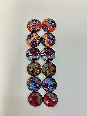 6 Pairs Of 10mm Glass Cabochons #1096