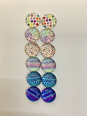 6 Pairs Of 12mm Glass Cabochons #460