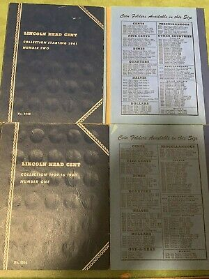 Lincoln Head Cent 1909-1958-2012 Wheat cent 2Partial Whitman Albums 128 Pennies
