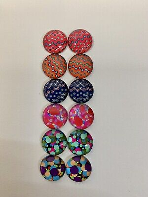 6 Pairs Of 10mm Glass Cabochons #468