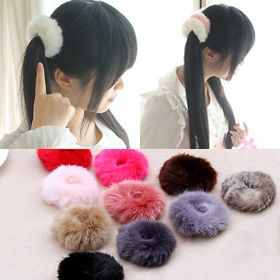 Soft Fluffy Faux Fur Furry Scrunchie Elastic Hair Ring Rope Band For Women Girls