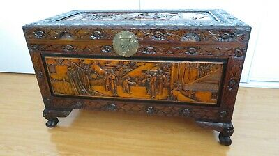 Classical Chinese Camphor Chest.Beautiful Carvings.Clean/Presentable Cond.