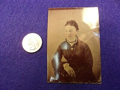 #24 (Bonus) - Excellent Old Antique Tintype Photograph - Lady In Victorian Dress