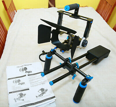 Video Camera Cage Rig with Handle Grip+Matte Box for DSLR
