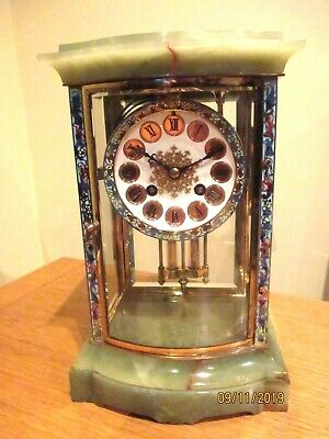 Quality Onyx and Cloisonne Fench 4 Glass Mantel Clock.