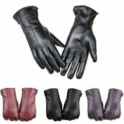 Ladies Women Soft Leather Gloves Warm Black Lined Driving Winter Touch Screen