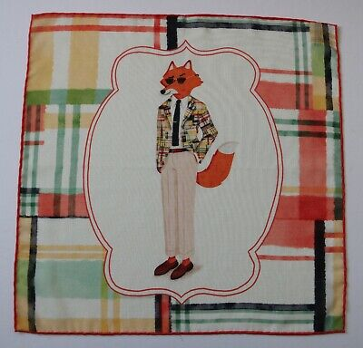 Wool & Silk Pocket square in cream. Fox wearing sunglasses and suit. Hand rolled