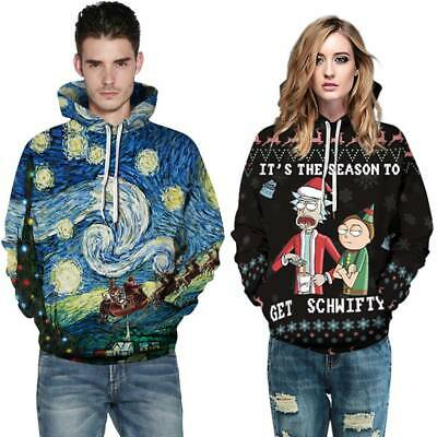 Christmas Mens Womens Rick and Morty Ugly Hoodie Sweatshirt Pullover Jumper Tops