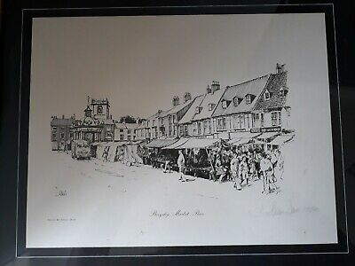 J Steven Dews Signed Limited Edition Framed Etching Print Beverley Market Place