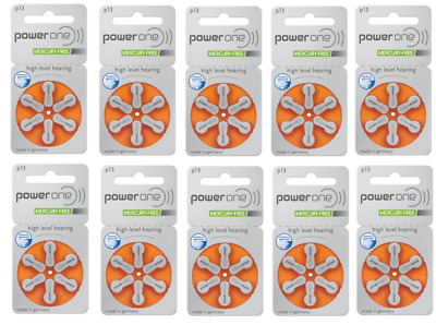 Power one hearing aid batteries (Size 13) - 10 cards (60 cells). MF