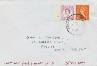 GB 29.2.1972 LAST DAY COVER (Last Day the £.s.d. stamps were valid) RRR!!