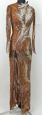 L1998  women Competition samba  Latin/Rhythm Rumba dress UK 8 US 6 nude