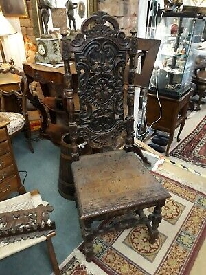 Gorgeous Pair Antique Victorian Highly Carved Oak Chairs