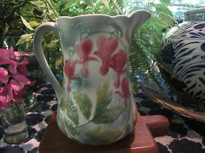 Lovely French Majolica Pitcher - Bleeding Hearts, Saint - Clements France 1920