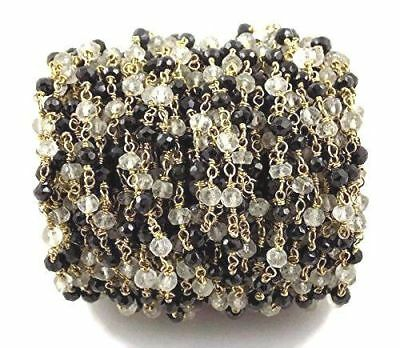 3-10 Feet Black Spinel Crystal Rosary Beaded Chain 24k Gold Plated Wire 3.5-4mm