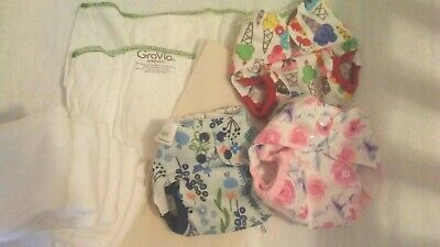 Lot 3 Blueberry Capri Newborn Cloth Diaper Covers, 12 Grovia Prefolds, 2 liners