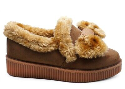 Ladies Womens Black Or Tan Fur Lined Moccasin Shoes