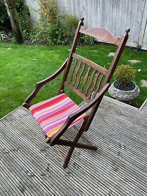 Victorian Solid Oak Folding Chair in good original condition with new seat