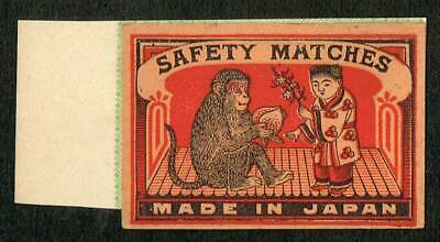 Vintage Old Matchbox Label Japan For Export Kids and Monkey with paper