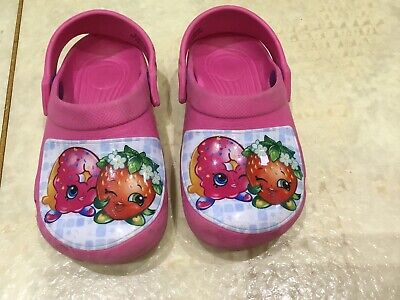 Girls Pink Croc Style Shoes Infant Size 9 Shopkins Strawberry & Doughnut