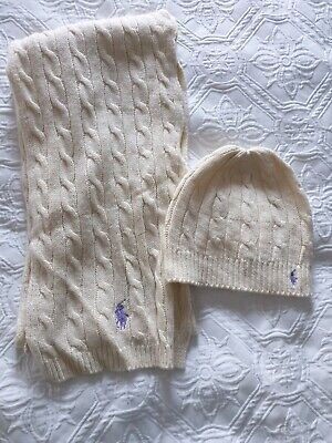Ralph Lauren Cable Knit Ladies Hat And Scarf Set